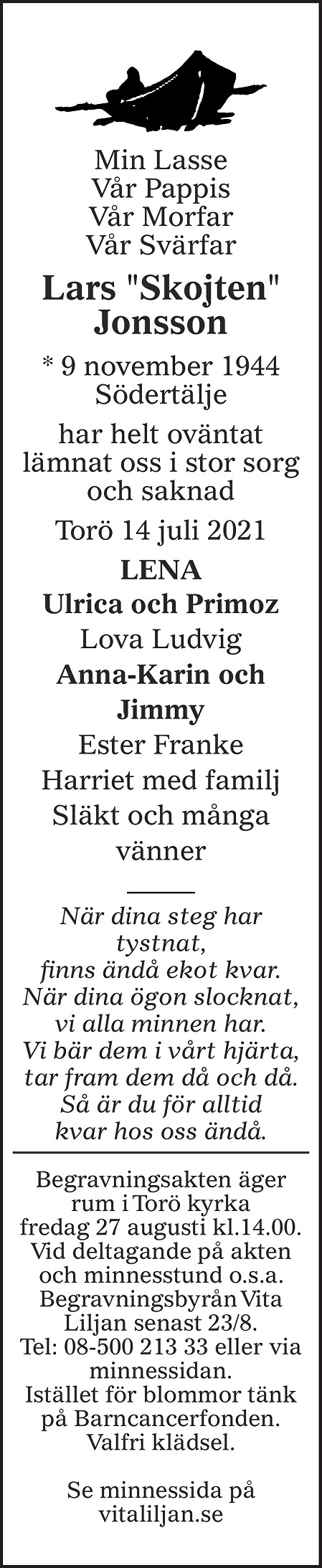 Lars  Jonsson Death notice