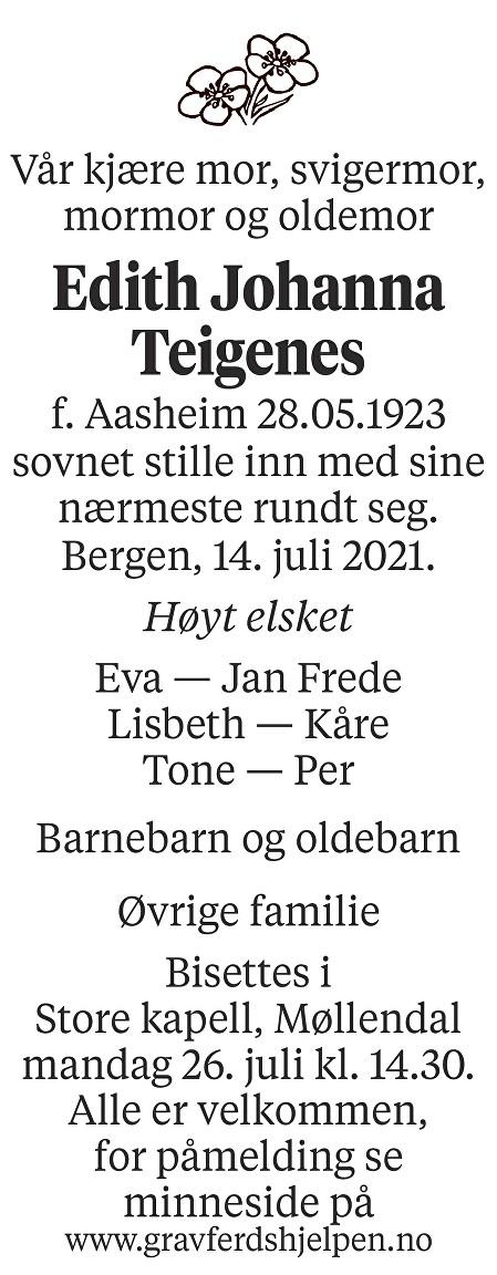 Edith Johanna Teigenes Dødsannonse