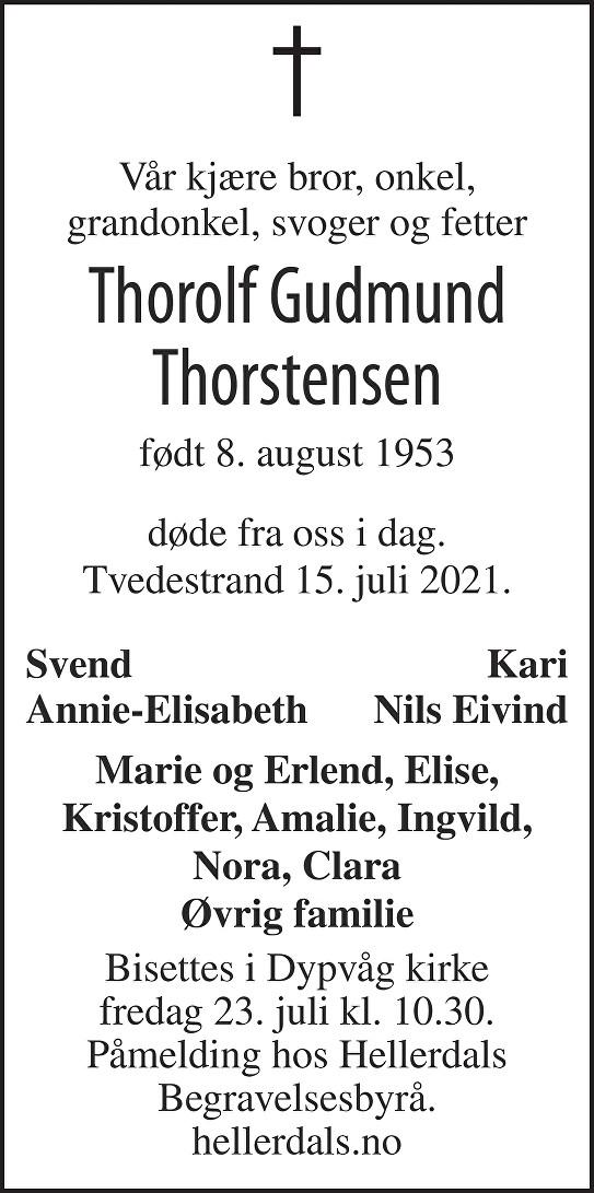 Thorolf Gudmund Thorstensen Dødsannonse