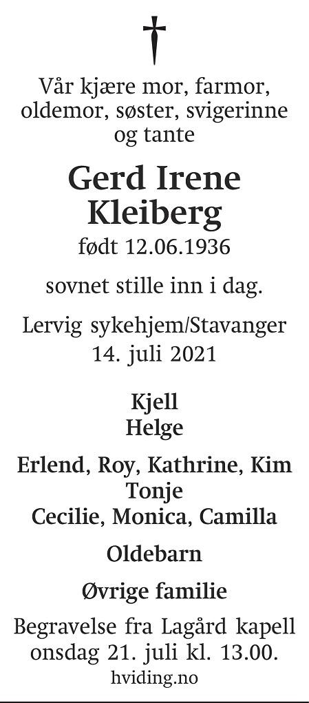 Gerd Irene Kleiberg Dødsannonse