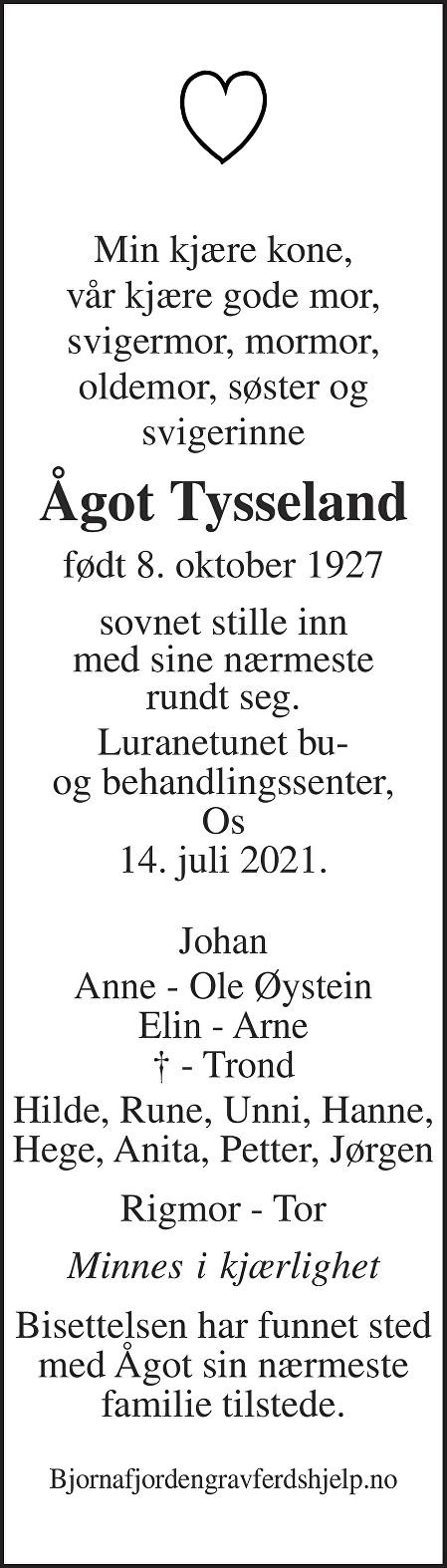 Ågot Tysseland Dødsannonse