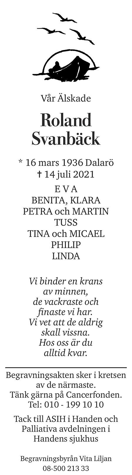 Roland Svanbäck Death notice