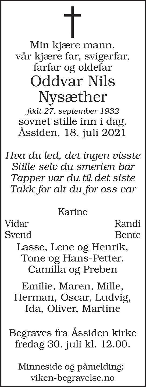 Oddvar Nils Nysæther Dødsannonse