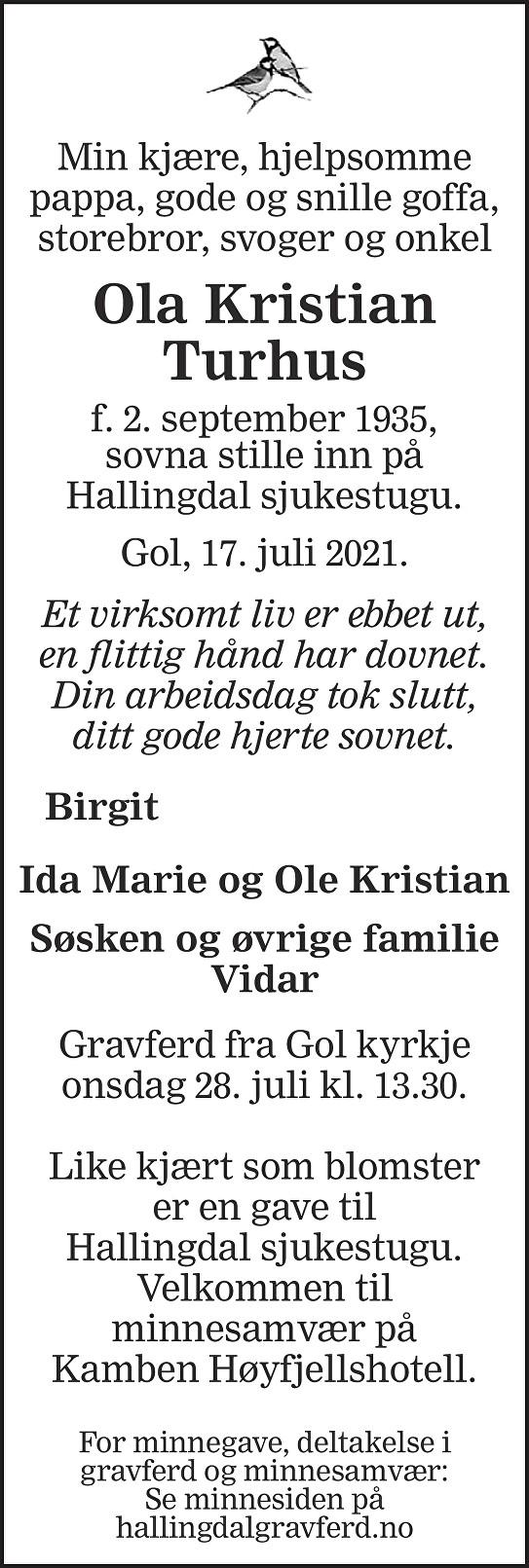 Ola Kristian Turhus Dødsannonse