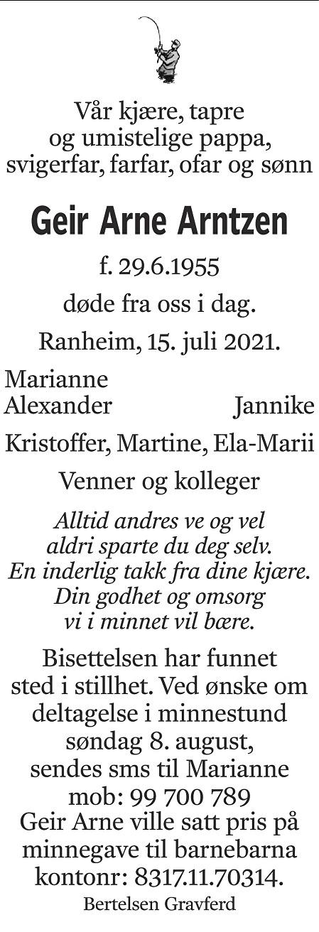 Geir Arne Arntzen Dødsannonse