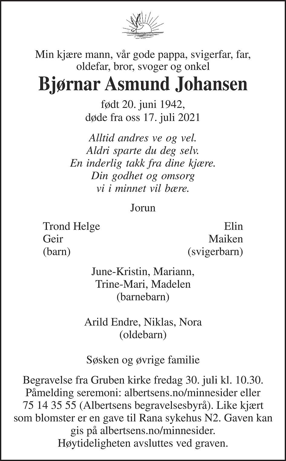 Bjørnar Asmund Johansen Dødsannonse