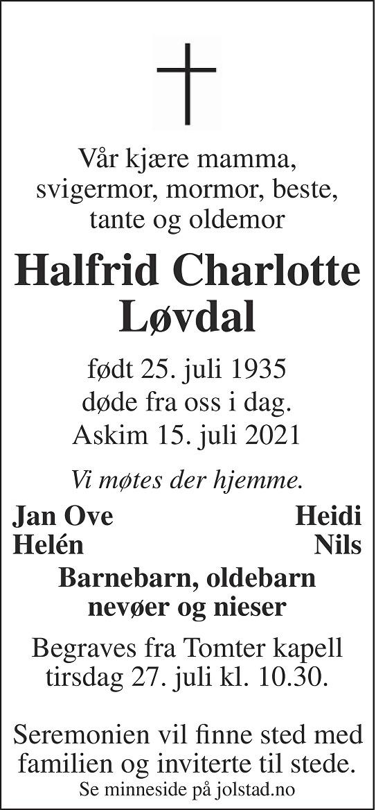 Halfrid Charlotte Løvdal Dødsannonse