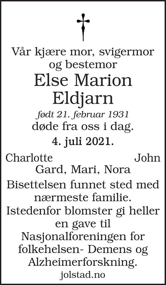 Else Marion Eldjarn Dødsannonse