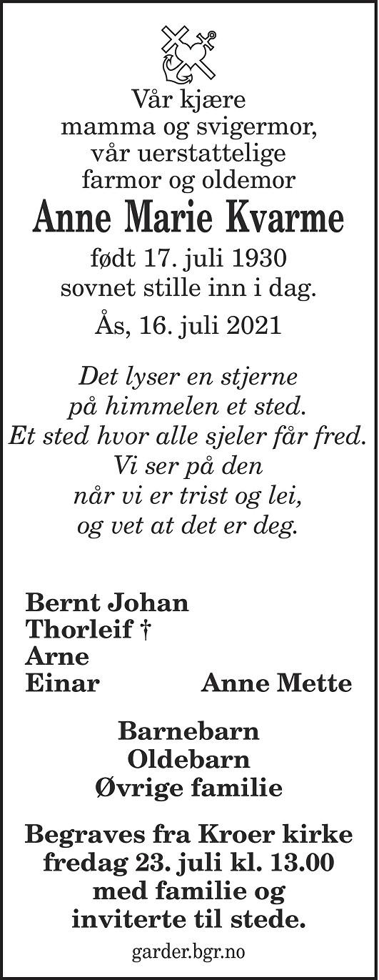 Anne Marie Kvarme Dødsannonse