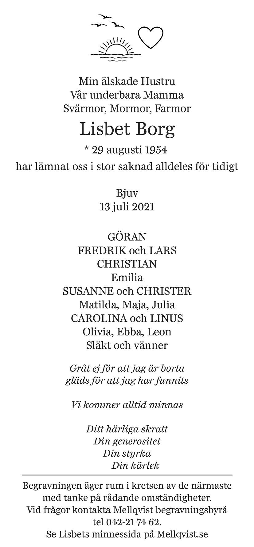 Lisbet Borg Death notice