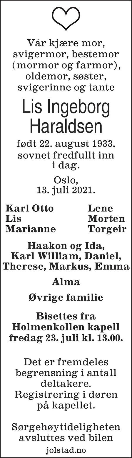 Lis Ingeborg  Haraldsen Dødsannonse