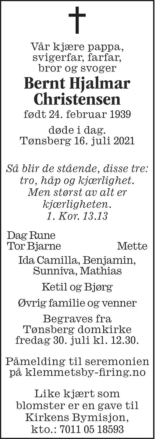 Bernt Hjalmar Christensen Dødsannonse