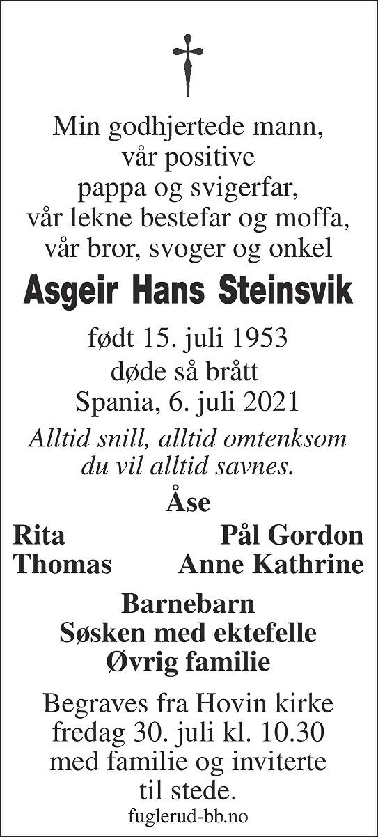 Asgeir Hans Steinsvik Dødsannonse
