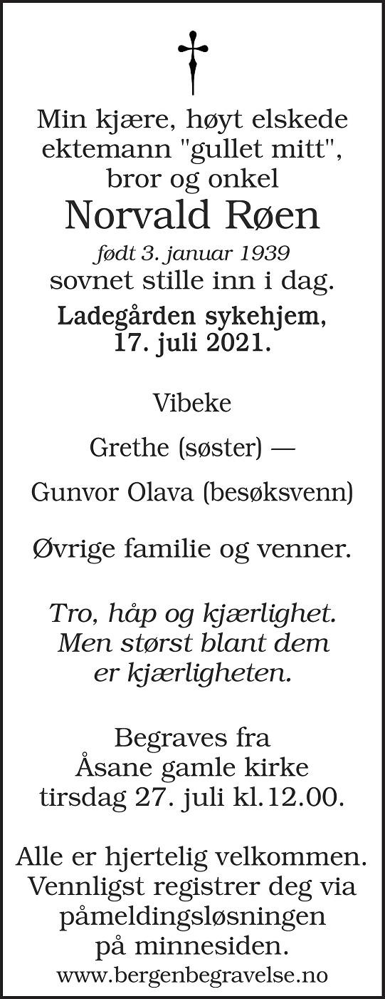 Norvald Røen Dødsannonse