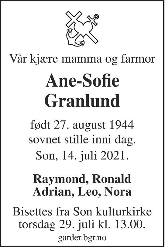 Ane-Sofie Granlund Dødsannonse