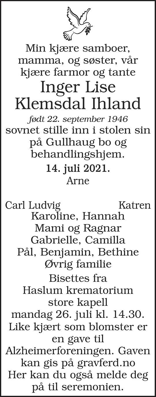 Inger Lise Klemsdal Ihland Dødsannonse