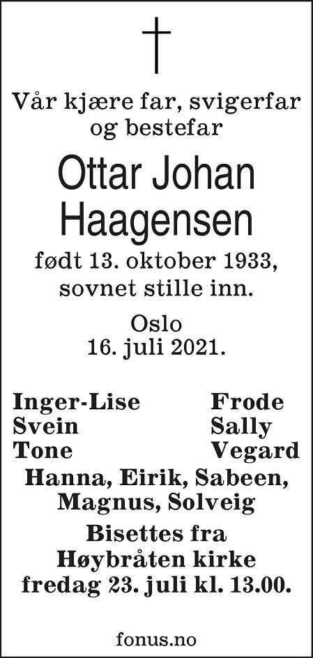 Ottar Johan Haagensen Dødsannonse