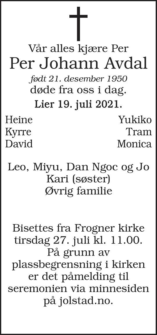 Per Johann Avdal Dødsannonse