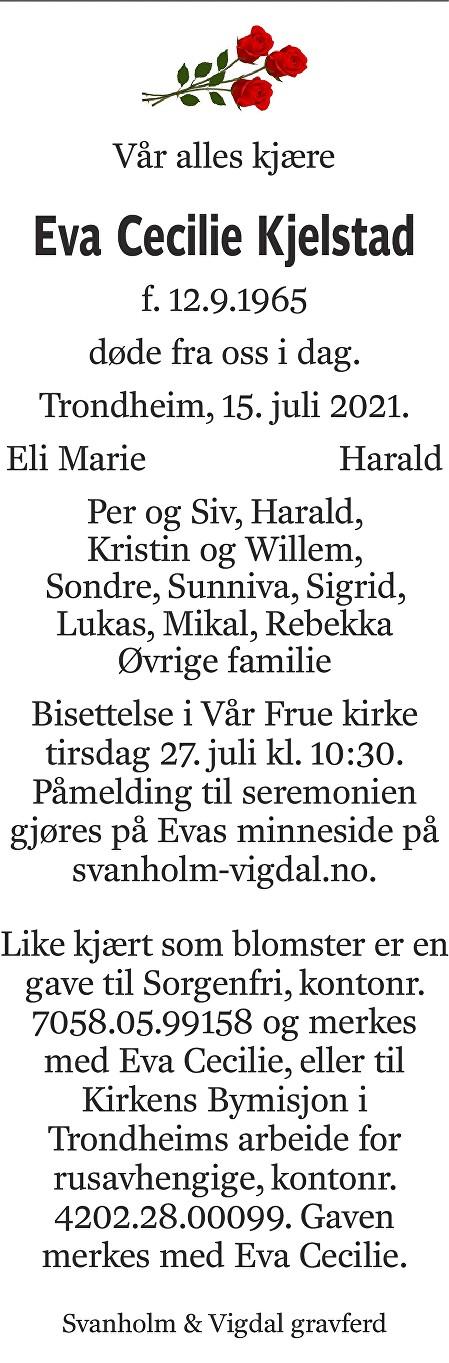 Eva Cecilie Kjelstad Dødsannonse