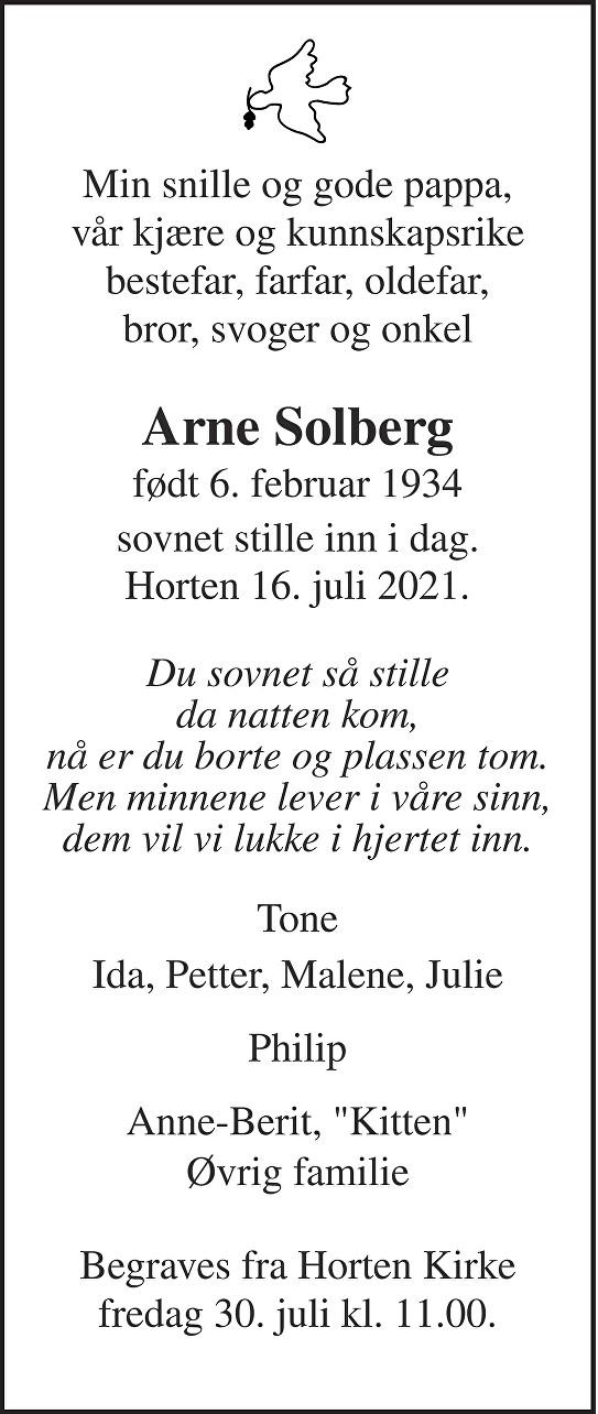 Arne Solberg Dødsannonse