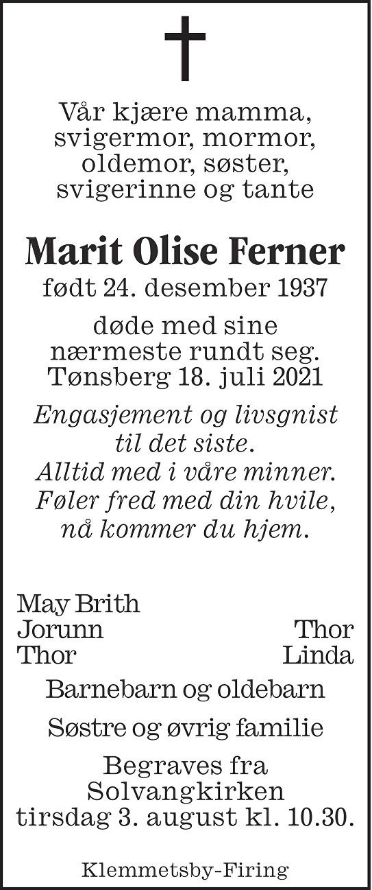 Marit Olise Ferner Dødsannonse