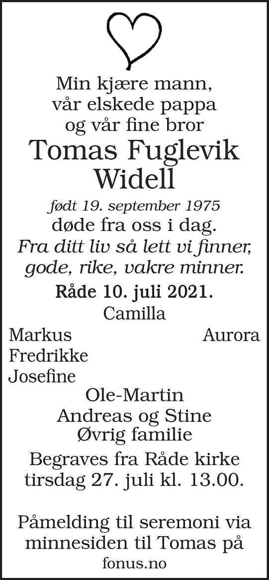 Tomas Widell Dødsannonse
