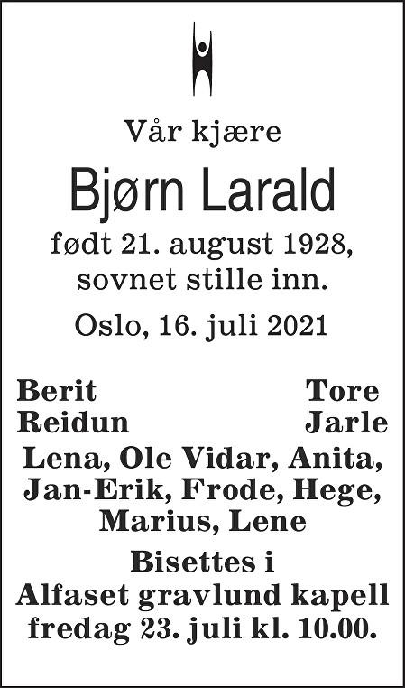 Bjørn Larald Dødsannonse