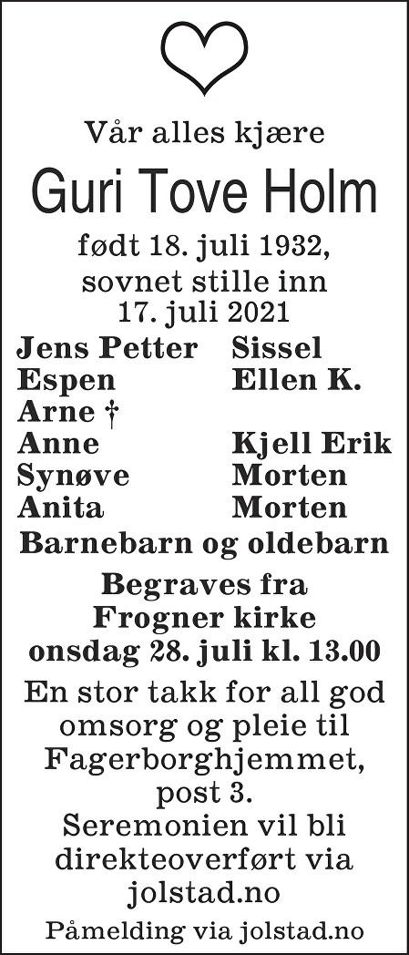 Guri Tove Holm Dødsannonse