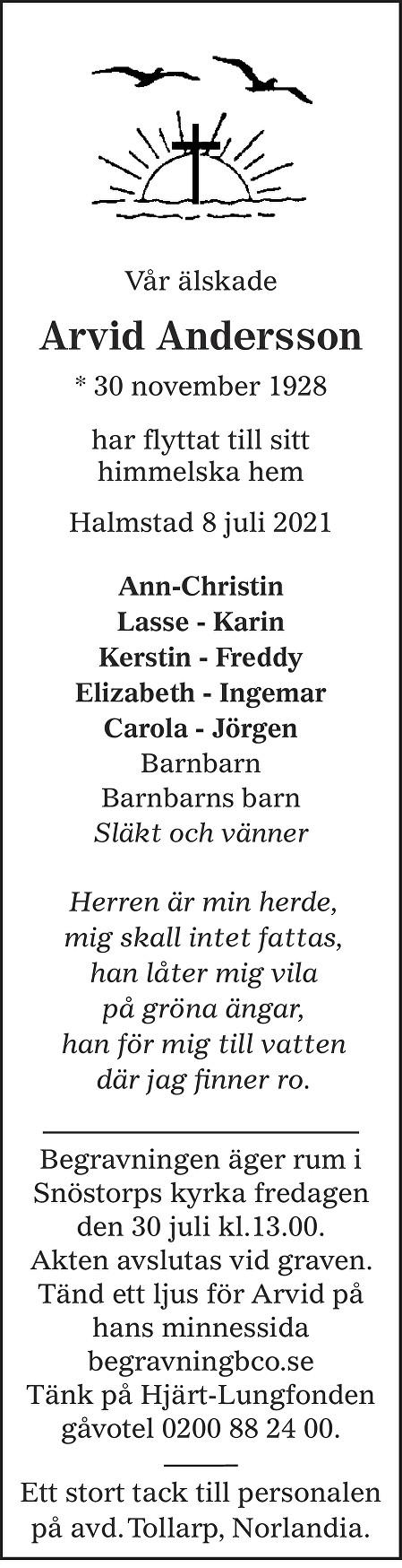Arvid Andersson Death notice