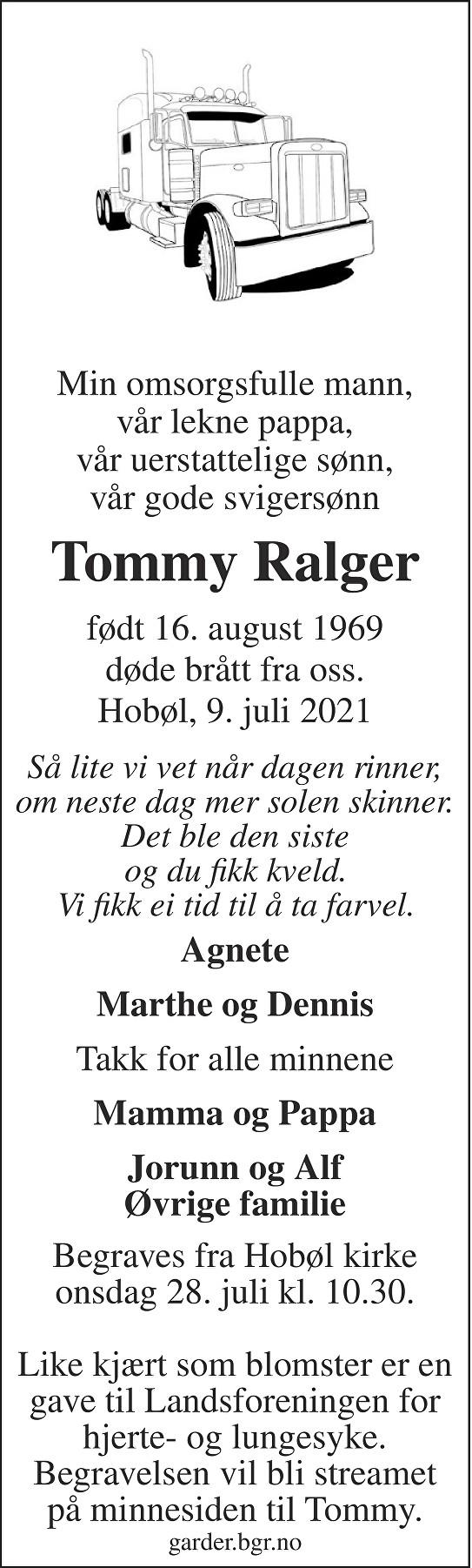 Tommy Ralger Dødsannonse