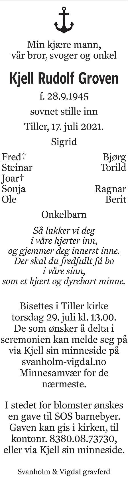 Kjell Rudolf Groven Dødsannonse
