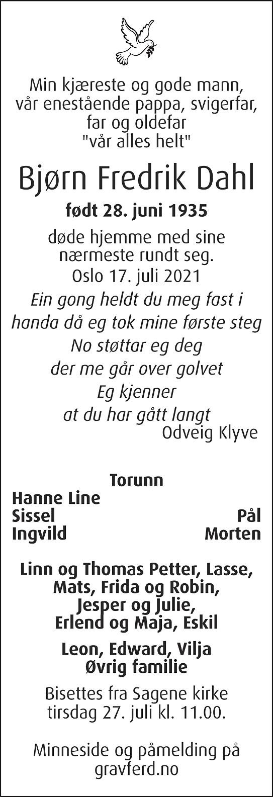 Bjørn Fredrik Dahl Dødsannonse