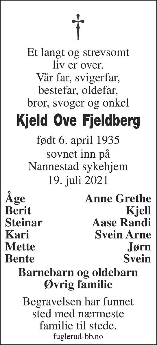Kjeld Ove Fjeldberg Dødsannonse