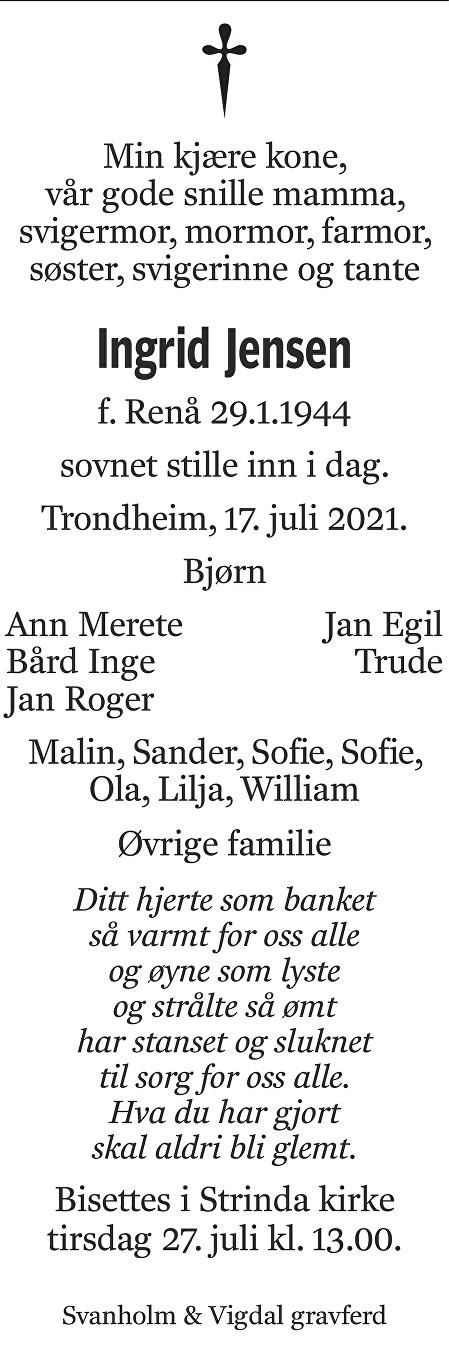 Ingrid  Jensen Dødsannonse
