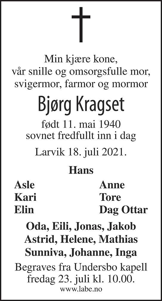 Bjørg Sollaug Kragset Dødsannonse