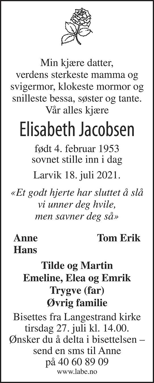Elisabeth Jacobsen Dødsannonse