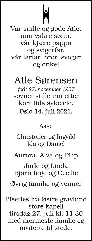 Atle Sørensen Dødsannonse