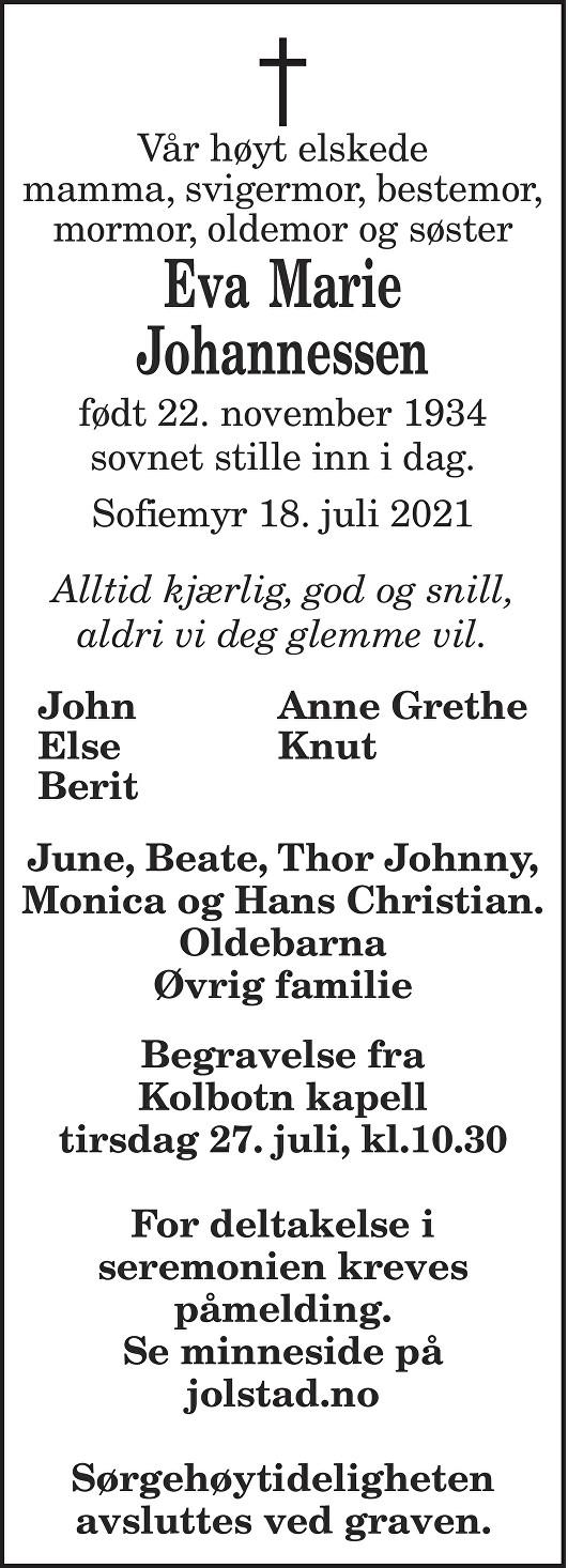 Eva Marie Johannessen Dødsannonse