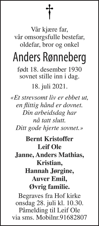 Anders Rønneberg Dødsannonse