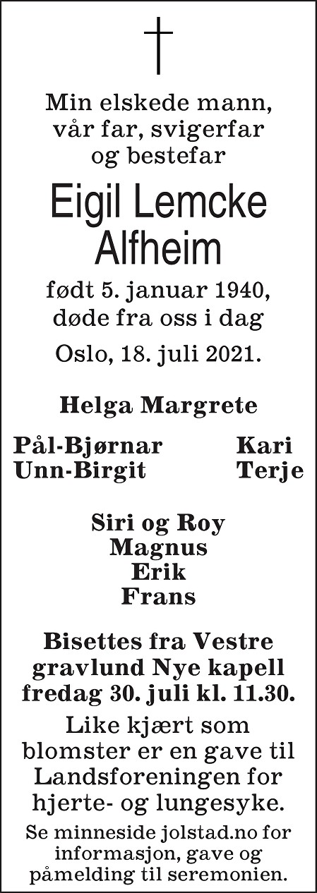 Eigil Lemcke Alfheim Dødsannonse