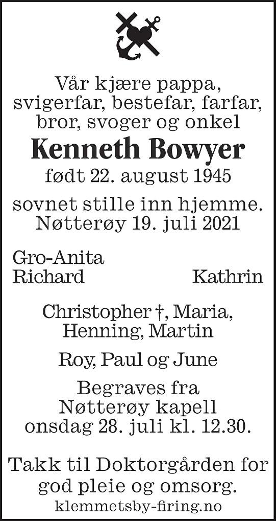 Kenneth Bowyer Dødsannonse