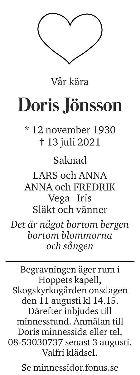 Doris Jönsson Death notice