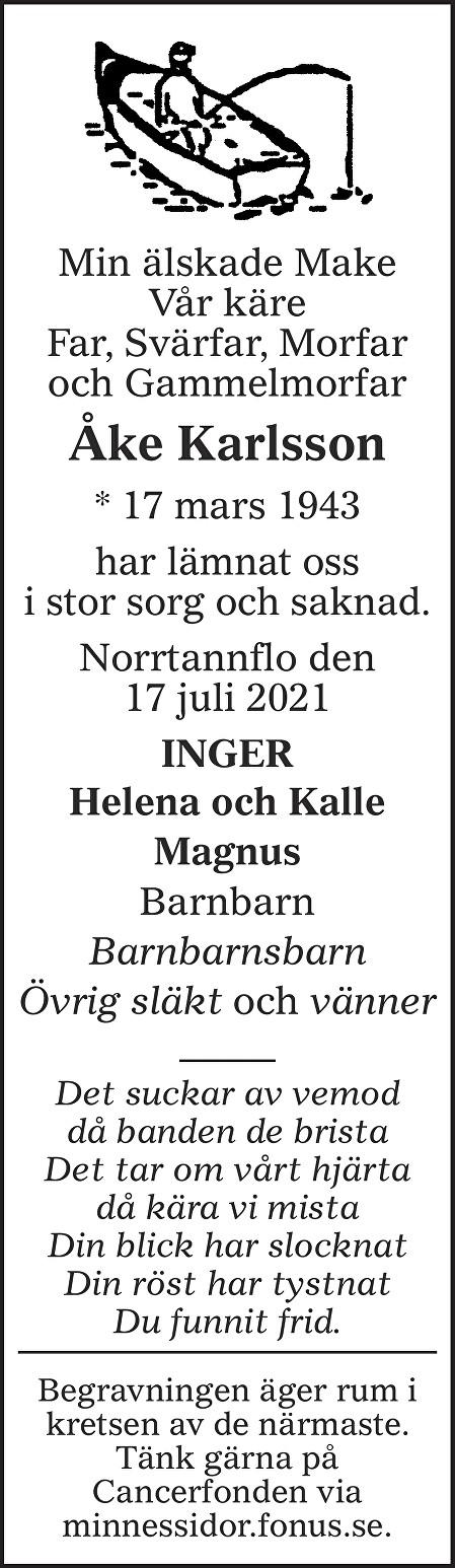 Åke Karlsson Death notice