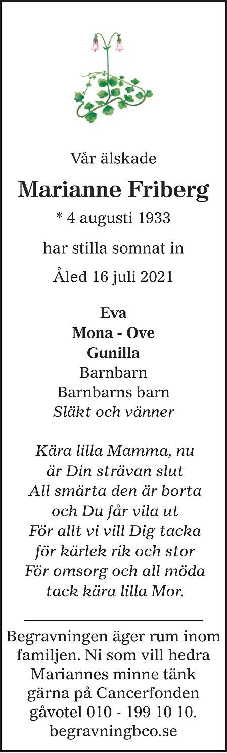 Marianne Friberg Death notice