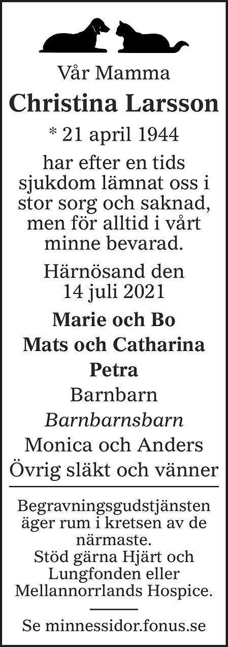 Christina Larsson Death notice