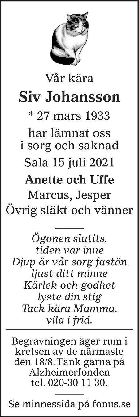 Siv Johansson Death notice