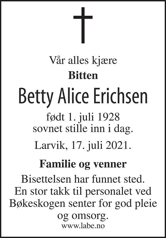 Betty Alice Erichsen Dødsannonse