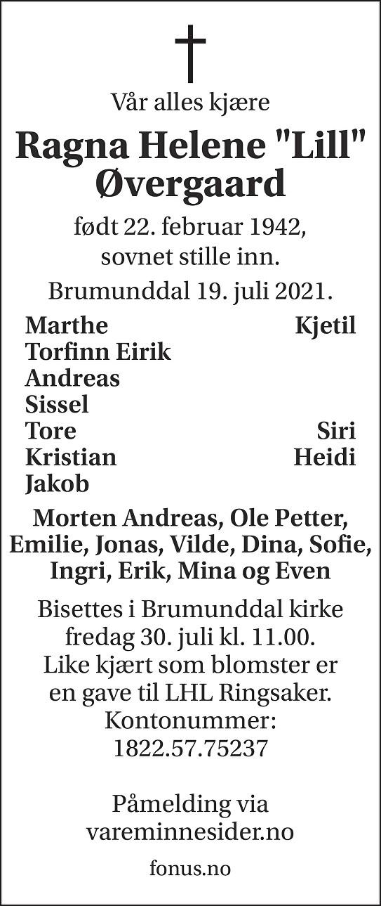 Ragna Helene Øvergaard Dødsannonse