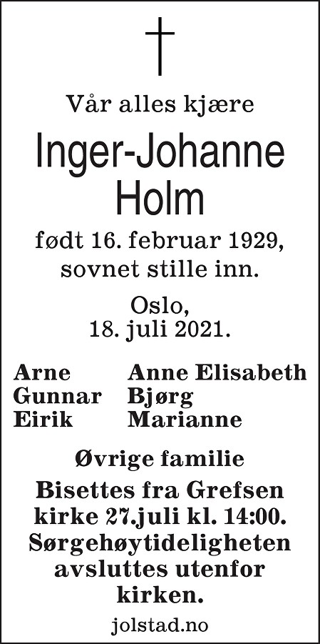 Inger-Johanne Holm Dødsannonse