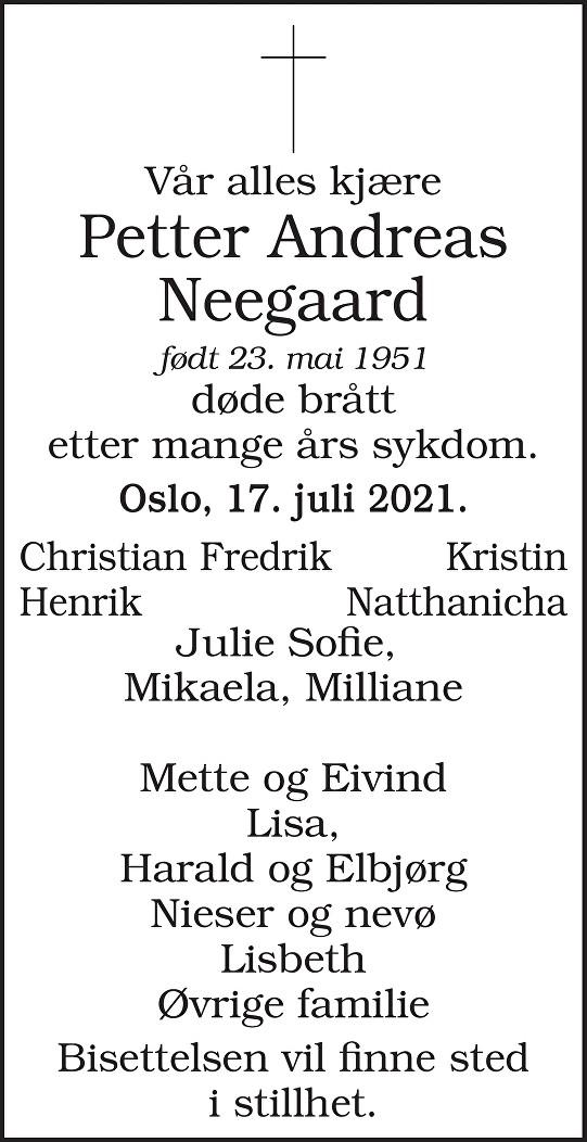 Petter Andreas Neegaard Dødsannonse